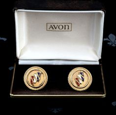 Exquisite AVON Vintage Rose Gold Gents Cufflinks CADILLAC Original Box