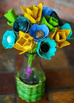 upcycled egg carton | ... Flower arrangement upcycled from egg cartons. doing this with the kids