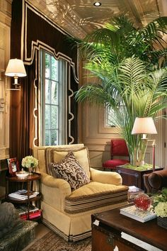 British Colonial living room, corner chair vignette