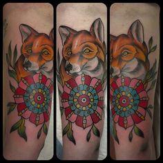 Fancy little fox #tattoos #best_traditional_tattoos #traditionaltattoo #foxtattoo #fancy #pdx