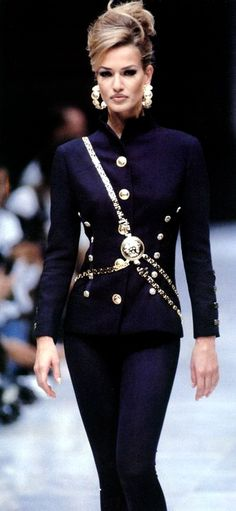 versace, chanel, fashion, color, jackets, military style, barbie, karen mulder, 90s supermodel