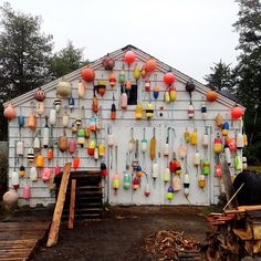 Exterior decorated with fishing float collection