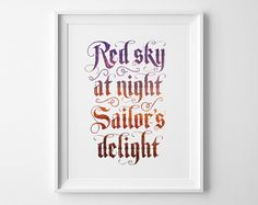 Red Sky At Night Sailors Delight Nautical by SweetPeonyPress, $10.00