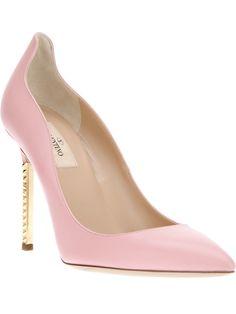 zapato, fashion, valentino garavani, valentino pink shoes, accessori bedazzl, heels, heel pump, metal heel, valentino heel