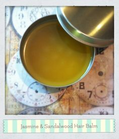How To Make A Jasmine & Sandalwood Hair Balm...If you have split ends, if you have frizzy hair, or if you'd just like to moisturize, smooth and perfume your hair with the intoxicating aromas of jasmine and sandalwood – then this recipe is for you!    While this balm is designed primarily for use on your hair, it can also be used to smooth your hands, heels, cuticles and elbows.