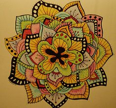 """""""lotus"""" zendala  Made with Staedler pen & colored pencil"""