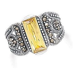 $44.95  Sterling Silver Yellow CZ Bar and Marcasite Ring