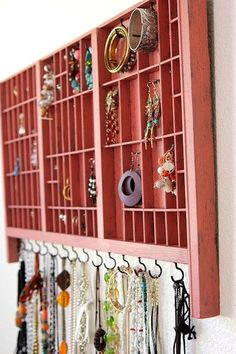 Old typeset trays get a revamp and became a smart place for storing jewelry.  Find the tutorial at Tonya Staab
