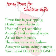 Money Poem for Christmas Gifts for kids or Teens | Look What Mommy Made