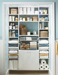 So organized! good ideas in this article. bathroom shelving, organized bathroom, bathroom closet organize, linen closet organization, closetmaid bathroom, bathroom organization, organize closet bathroom, linen closets, organizing a small bathroom