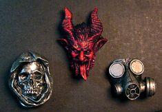 Set of Magnets Krampus Santa Muerte Gasmask by Dellamorteco, $12.00