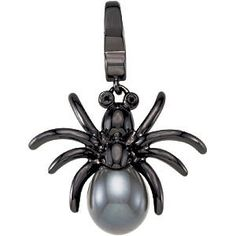 Sterling Silver Rhodium-plated Freshwater Cultured Black Pearl and Black diamond Spider Charm. To find a jeweler near you, visit http://www.stuller.com/locateajeweler/