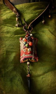 Bohemian gypsy cluster necklace - vintage textile and beads