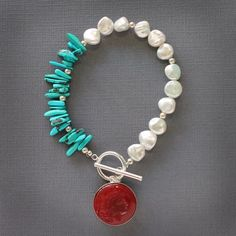 Charleston Turquoise and Freshwater Pearl Bracelet
