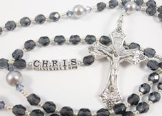 Personalized Dark Blue and Silver Boy First Communion or Confirmation Rosary - Custom Rosary