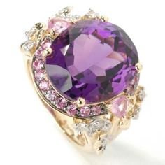 14k Gold, Purple, Amethyst, Pink, Sapphire and Diamond ring