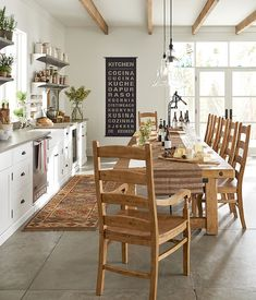 Why not use a long rustic-style table in the kitchen?