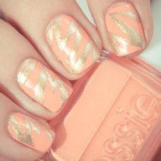 Peach and Gold manicure!