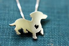 Dachshund necklace sterling silver hand cut by justplainsimple, $40.00