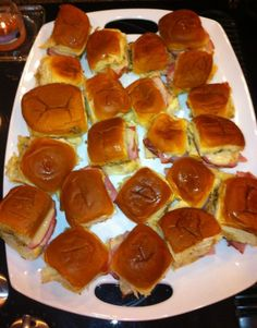 Ham and cheese on mini Hawaiian rolls. Awesome baby shower food idea. Maybe some turkey and white cheese. And some ham and cheese.