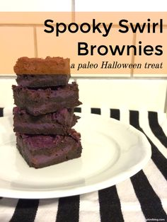 These paleo brownies are perfect for Halloween! Made with bright purple sweet potato, maple syrup, and cocoa, they're a fun dessert for a paleo Halloween with kids.