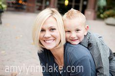 Urban family photo shoot.  Mom and son.