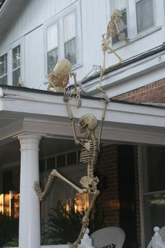 Creative use of Skeleton Halloween Decorations  #Halloween #decorations #diy #spooky #skeletons For directions go to: http://www.instructables.com/id/Climbing-Halloween-Skeletons/