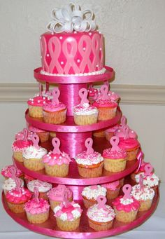 Breast Cancer Awareness Cake and Cupcakes