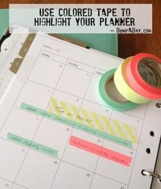 the Crafty ideas- Colored Tape planner idea