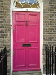 A touch of pink london, pink door, front doors, flip flops, bricks