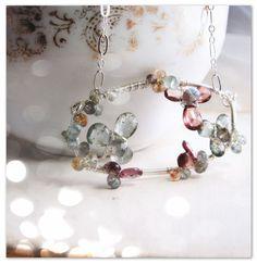XANADU  ice flower gemstone aquamarine flower necklace