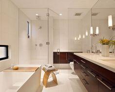 White modern bathroom, with a splash of dark wood