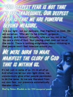 mandela deepest fear quote poster | Nelson Mandela Quotes and Saying Images and Nelson Mandela Quotes ...