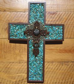 Turquoise Wall Cross  Wall Art by Windychimes on Etsy,