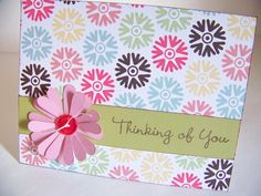 Stamped, Floral and Ribbon Homemade Card
