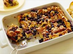 Healthier Overnight French Toast with blueberries and almonds.