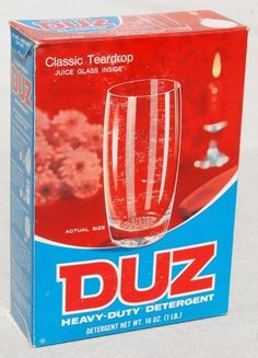 DUZ laundry detergent; came with a glass tumbler
