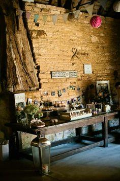 Rustic country barn wedding dessert table