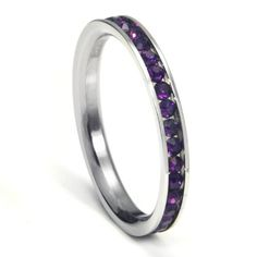 316L Stainless Steel Amethyst Purple Cubic Zirconia CZ Eternity Wedding 3MM Band Ring Comes with FREE Gift Bo Stainless Steel Amethyst Purple Cubic Zirconia CZ Eternity Wedding 3MM Band Ring Comes with FREE Gift Box 316L