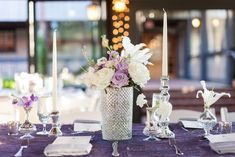 Lavender, white, and silver centerpiece