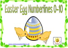 Easter egg numberlines 0-10. 0-10 number lines with corresponding Easter egg illustrations.
