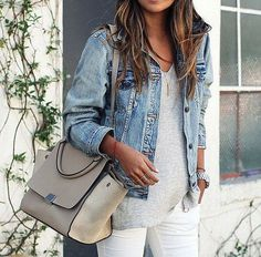 neutral bag, denim jacket outfit, jean jackets outfits, white jeans, jean grey, big bags