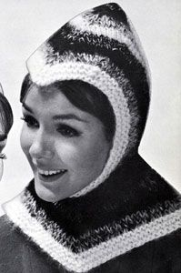 Crusader Hood knit pattern from High Fashion Hats, originally published by Bernhard Ulmann, Volume 62, in 1961.