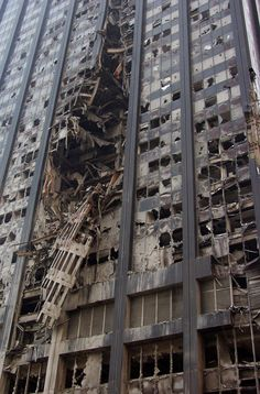 9/21/2001 - Photo of the damaged Deutsche Bank Building in New York City near Ground Zero.
