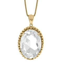 Large Oval White Topaz Gemstone Diamond Pendant In Yellow Gold Available Exclusively at Gemologica.com