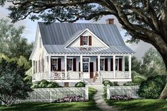 #Country #HousePlan 86101 | This brand-new house, Raspberry Cottage, has a very merry old soul. With appropriate vintage detail and an abundance of charm, the young couple who live there say it reminds them of the quaintness they enjoyed when visiting their great aunts...great memories.