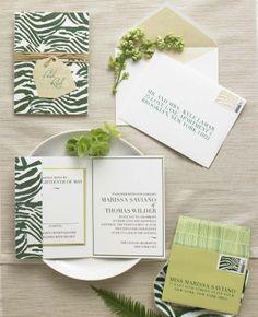 Green & White invitations // Photo: Philip Ficks
