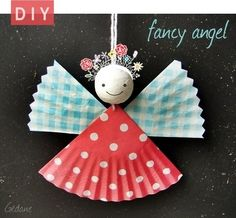 DIY Cupcake Liner Angel Ornament Tutorial from By Gedane here. Use Chrome to automatically translate from French to English - but really the photos are good enough. This is so easy that kids can help do most of it.