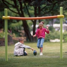 DIY Pool Noodle Goal Post #DIY #Summer #PoolNoodles #Noodles #Posts #Goals #GoalPosts #Football #Sports #Games #OutdoorGames #PartyGames #Party #Parties #Kids #Toddlers #Activities