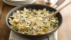 A familiar skillet meal made extra easy with precooked rotisserie chicken and kid-friendly bow-tie pasta.